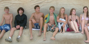Students on tour at Cathedral Cove