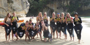 Students at Cathedral Cove, New Zealand