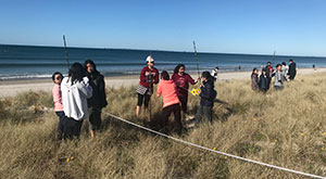 Data collection, sand dune restoration project during NZ study tour.