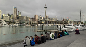 Urban Development secondary school student trip. Viaduct, Auckland, New Zealand